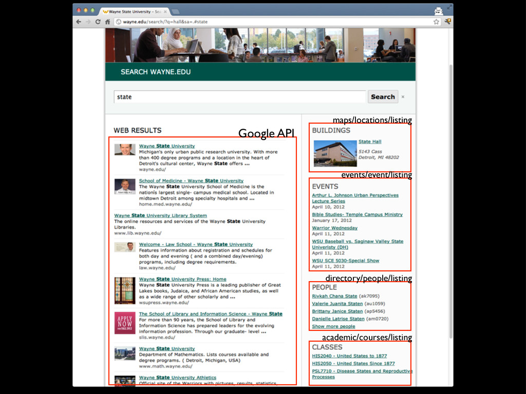 Google API maps/locations/listing events/event/...