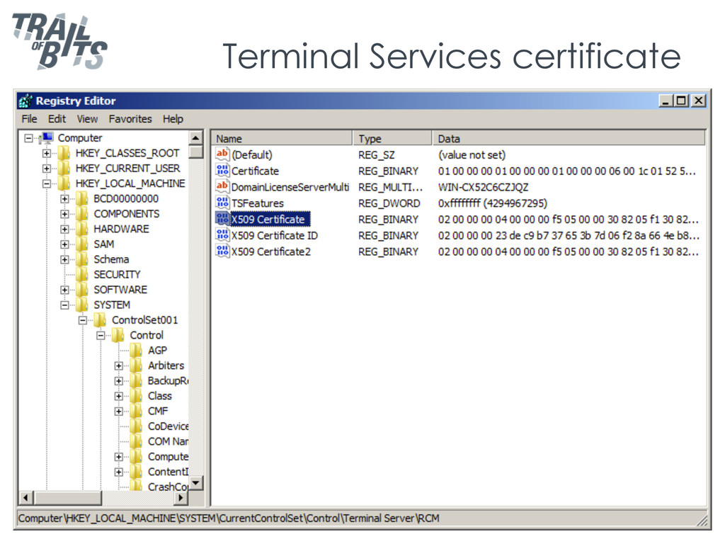 Terminal Services certificate