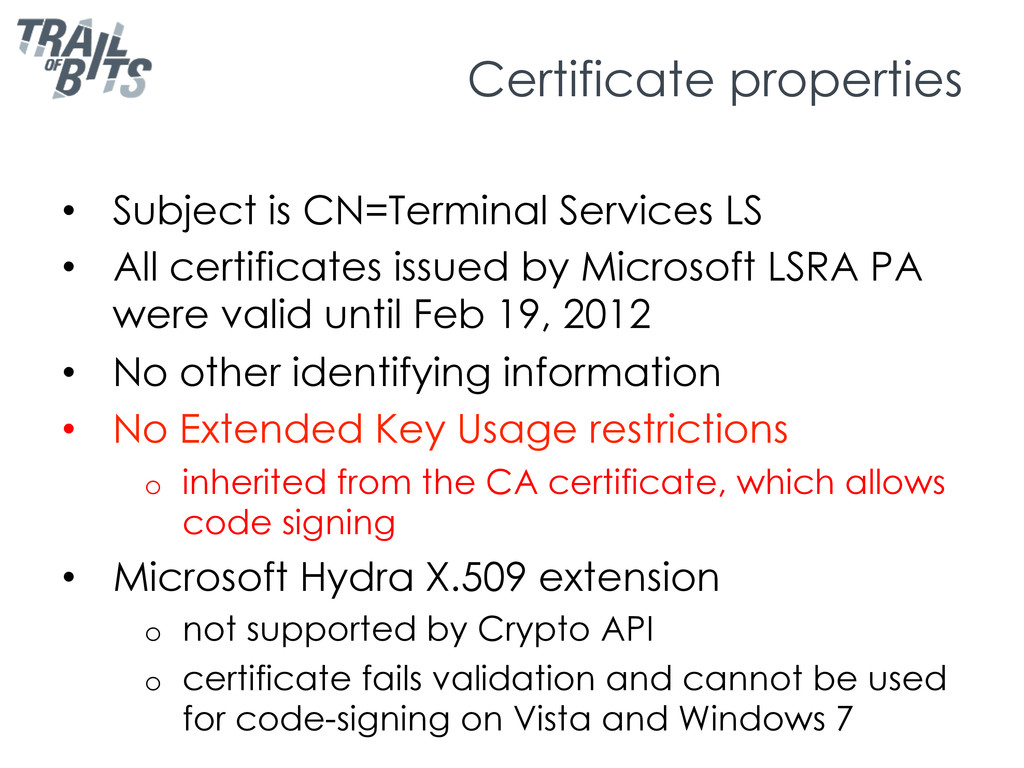 Certificate properties • Subject is CN=Termina...