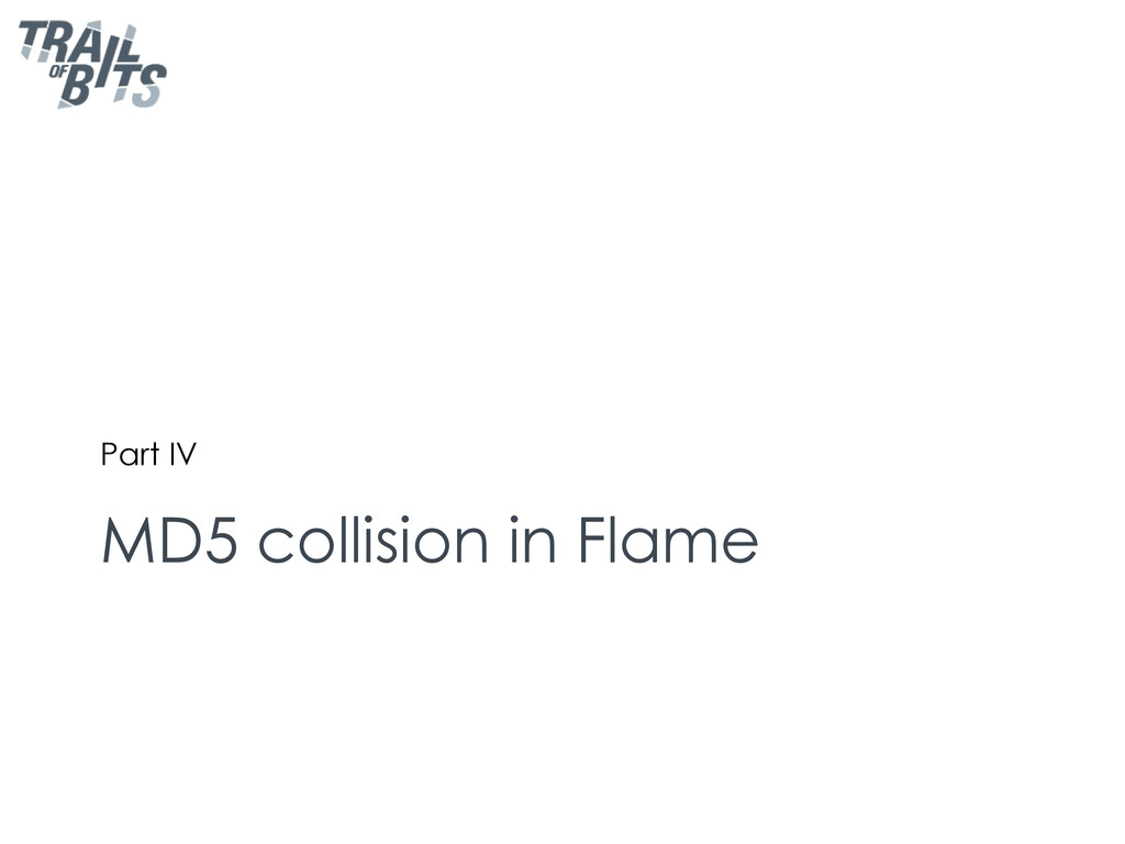MD5 collision in Flame Part IV