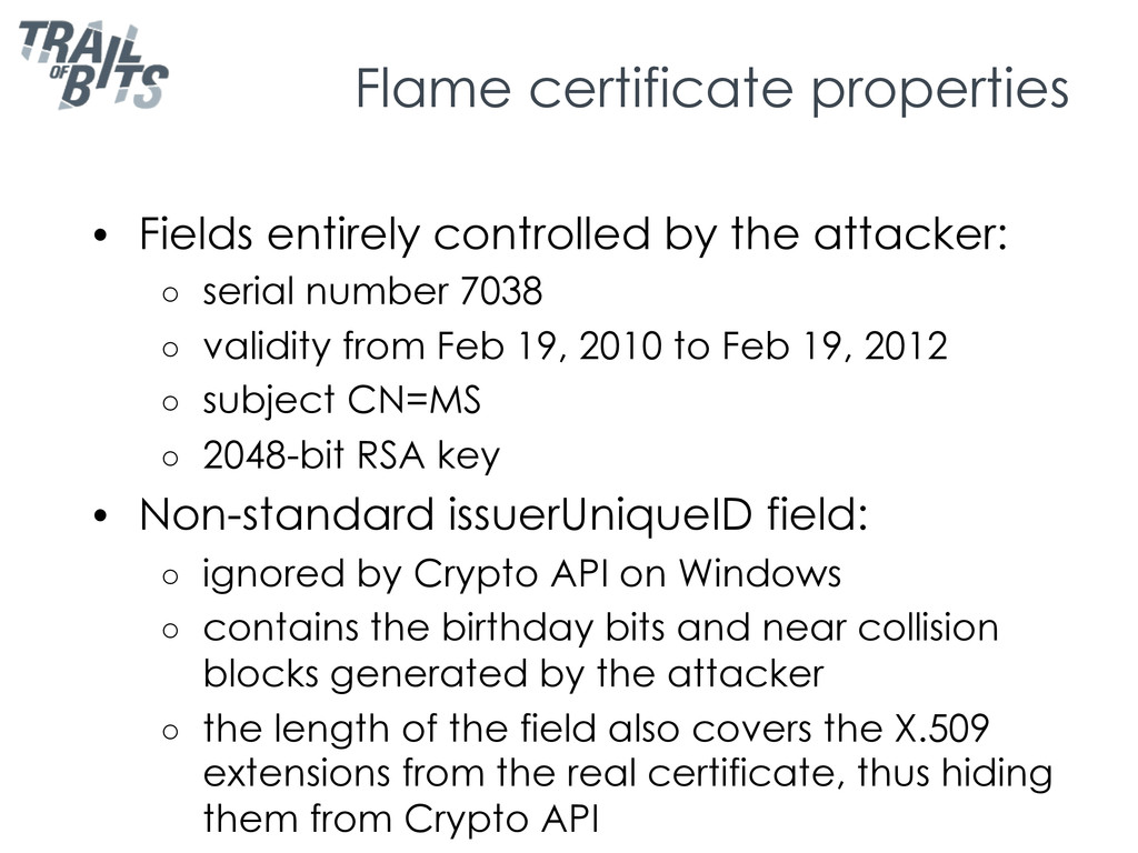 Flame certificate properties •  Fields entirely...
