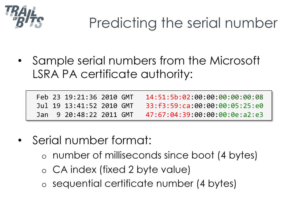 Predicting the serial number • Sample serial n...