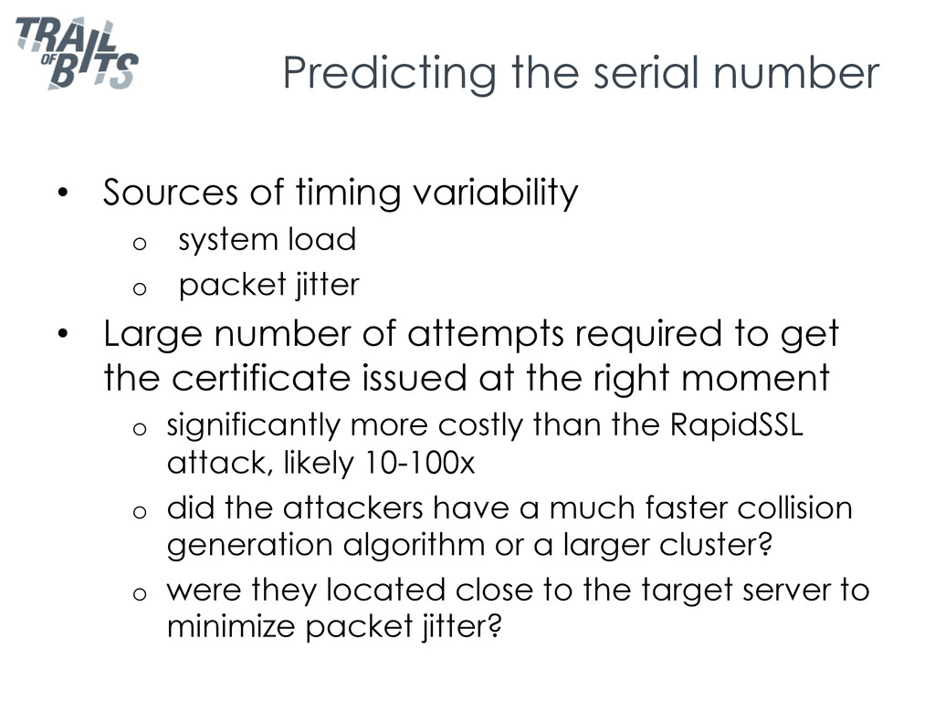 Predicting the serial number •  Sources of timi...