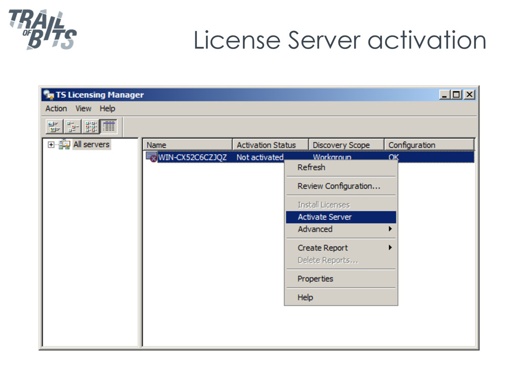 License Server activation