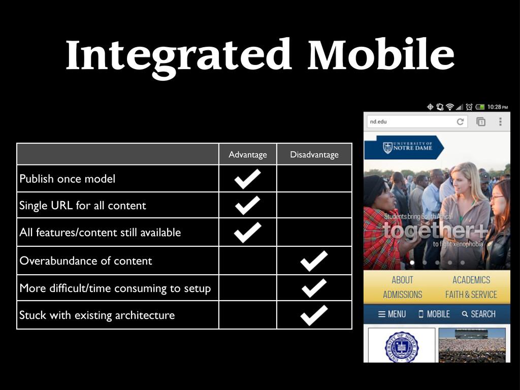 Integrated Mobile Advantage Disadvantage Publis...