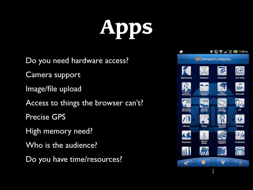 Apps Do you need hardware access? Camera suppor...
