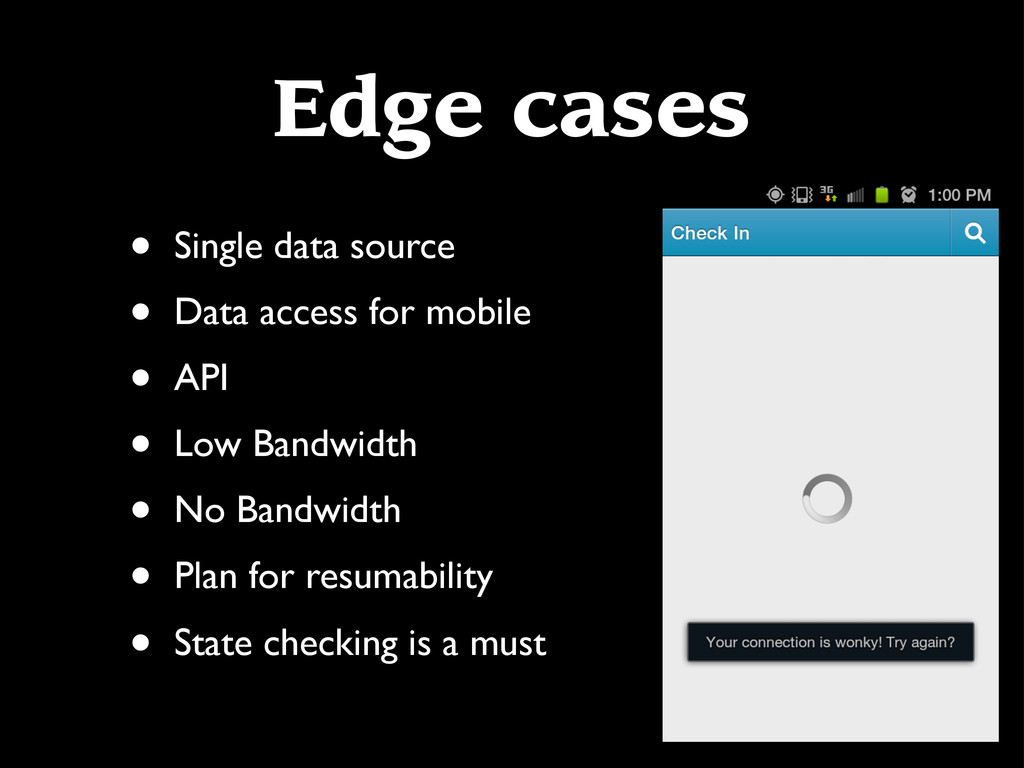 Edge cases • Single data source • Data access f...