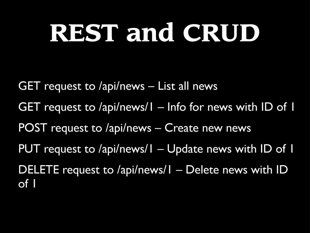 REST and CRUD GET request to /api/news – List a...