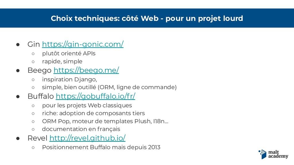 Choix techniques: côté Web - pour un projet lou...