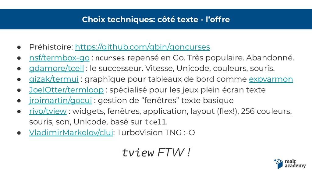 Choix techniques: côté texte - l'offre ● Préhis...