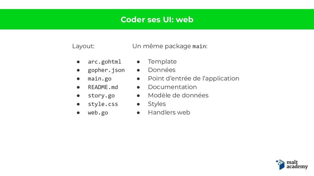 Coder ses UI: web Layout: ● arc.gohtml ● gopher...