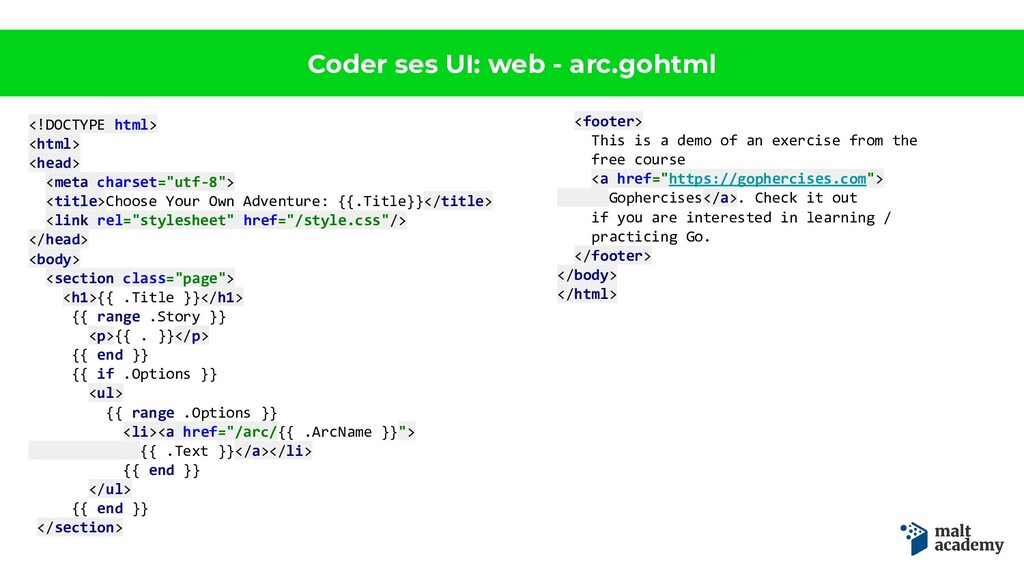 Coder ses UI: web - arc.gohtml <!DOCTYPE html> ...