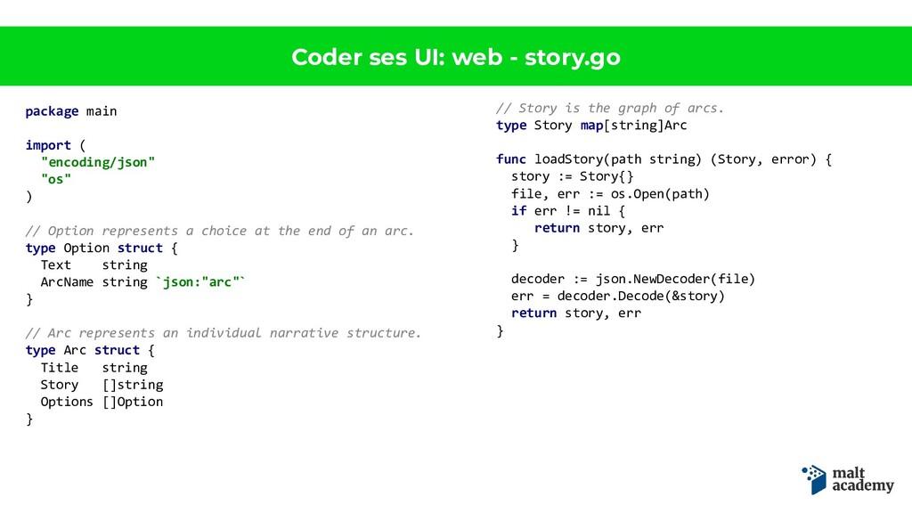 Coder ses UI: web - story.go package main impor...