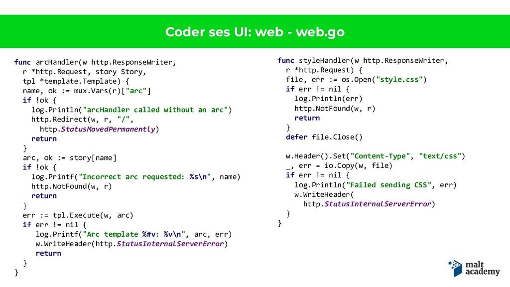 Coder ses UI: web - web.go func arcHandler(w ht...