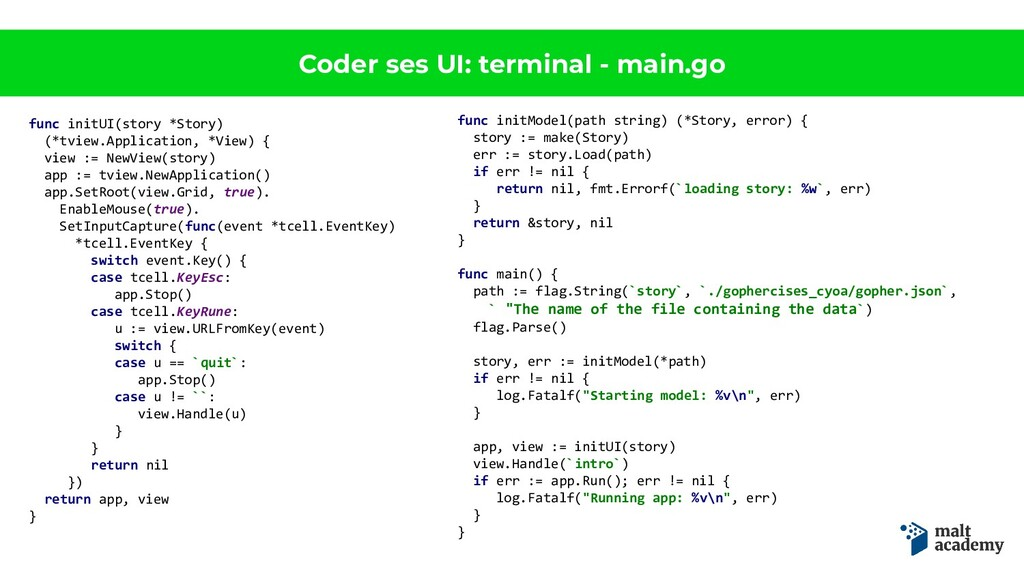 Coder ses UI: terminal - main.go func initUI(st...