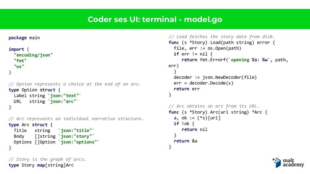 Coder ses UI: terminal - model.go package main ...