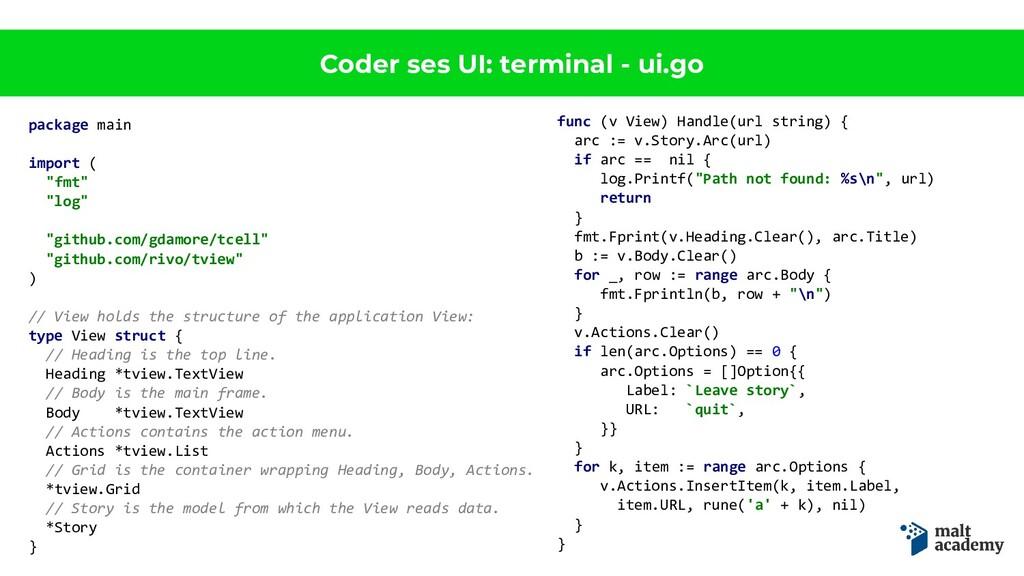 Coder ses UI: terminal - ui.go package main imp...