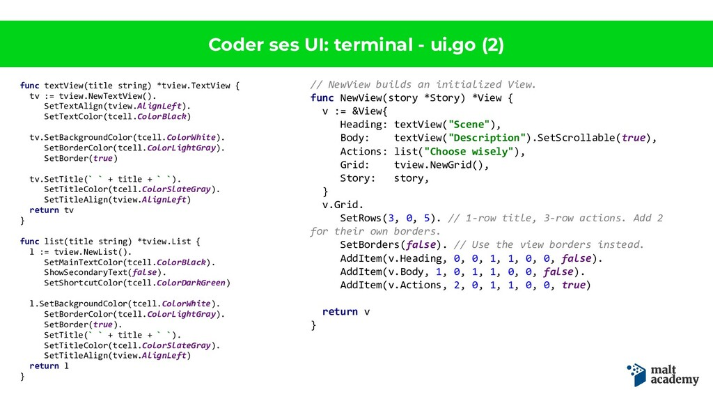 Coder ses UI: terminal - ui.go (2) func textVie...