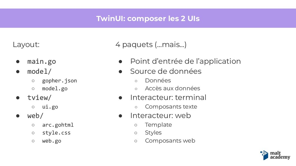 TwinUI: composer les 2 UIs Layout: ● main.go ● ...
