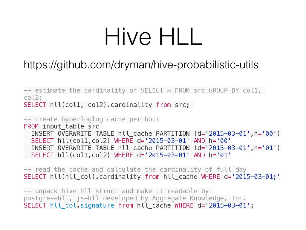 Hive HLL -- estimate the cardinality of SELECT ...