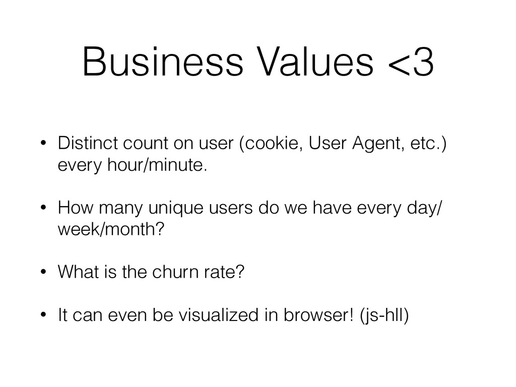 Business Values <3 • Distinct count on user (co...