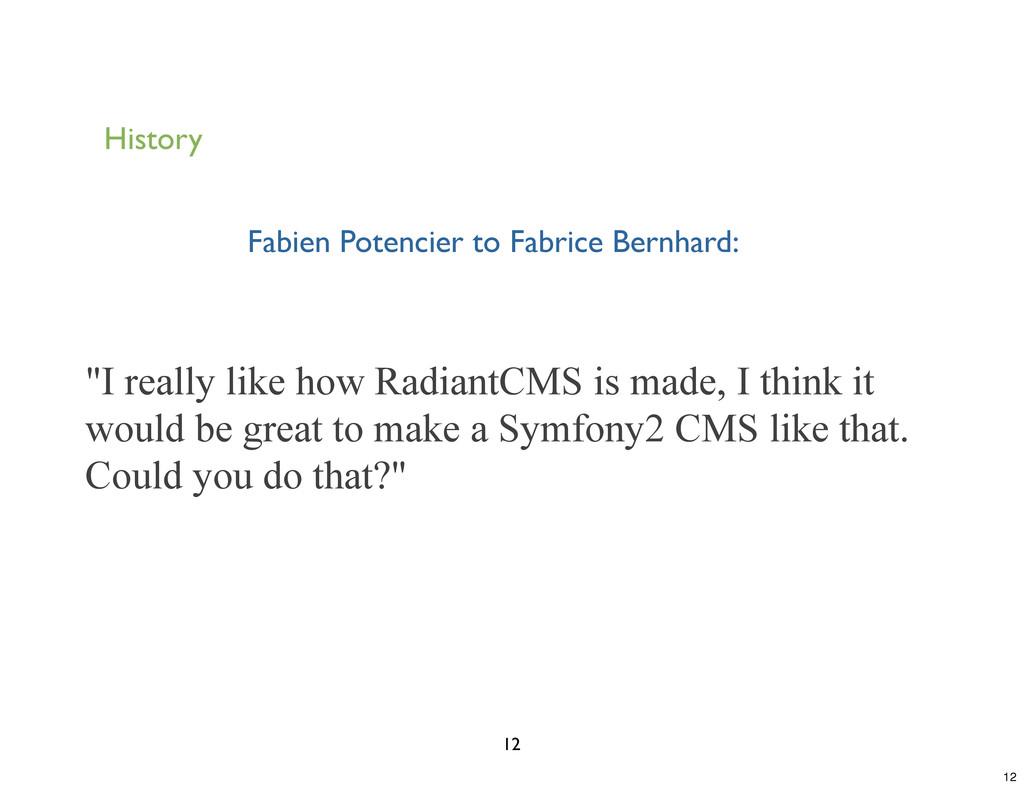 """History Fabien Potencier to Fabrice Bernhard: """"..."""
