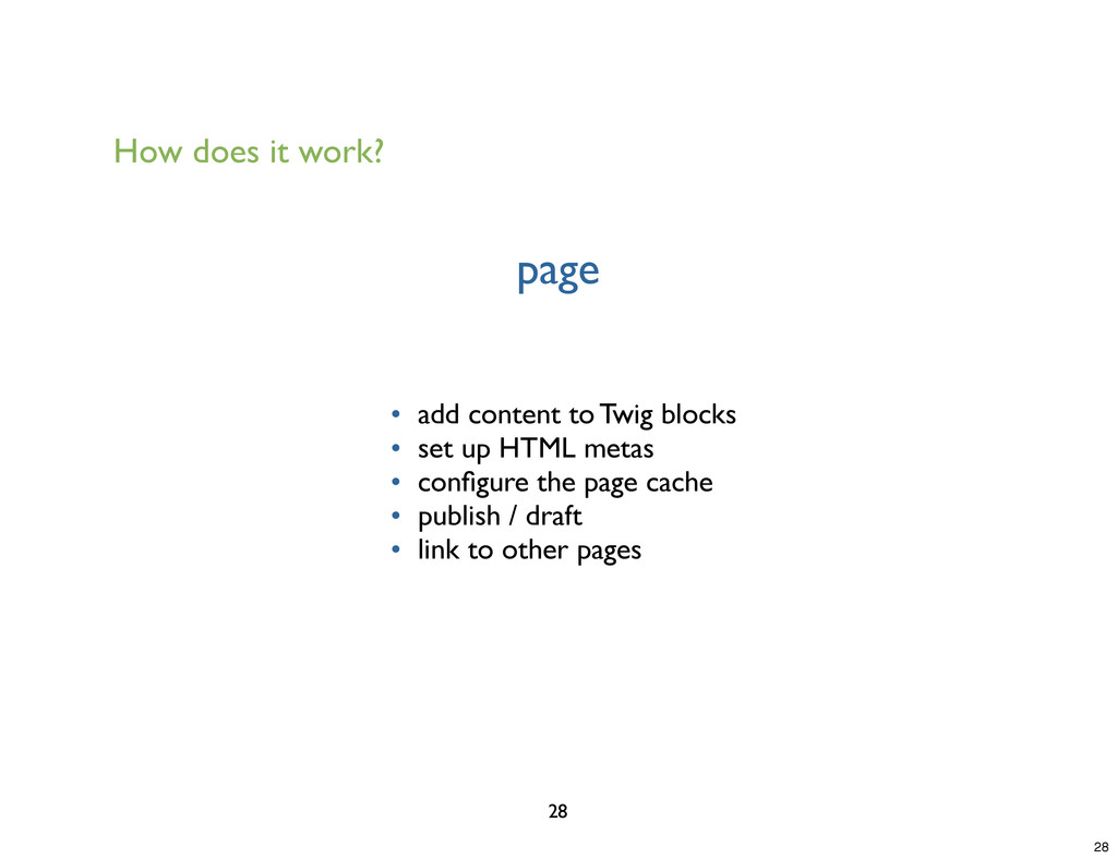 page 28 • add content to Twig blocks • set up H...