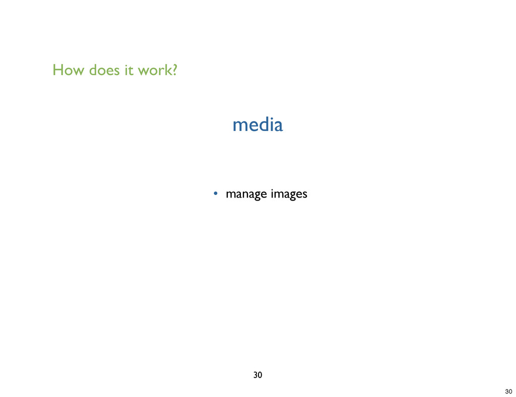 media 30 • manage images How does it work? 30