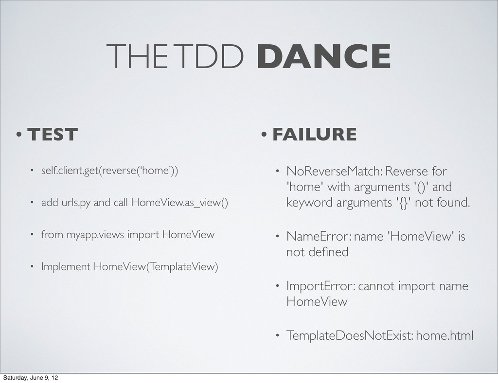 THE TDD DANCE • TEST • self.client.get(reverse(...