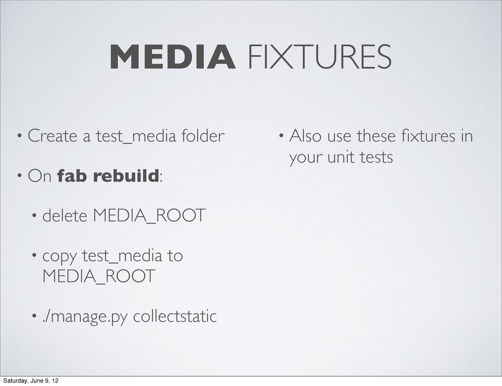 MEDIA FIXTURES • Create a test_media folder • O...