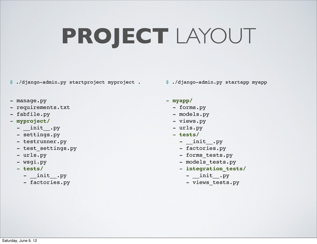 PROJECT LAYOUT $ ./django-admin.py startproject...