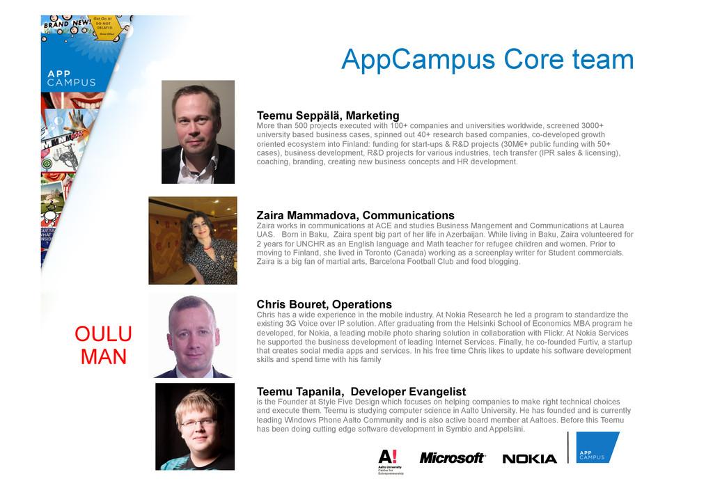 AppCampus Core team Teemu Tapanila, Developer E...