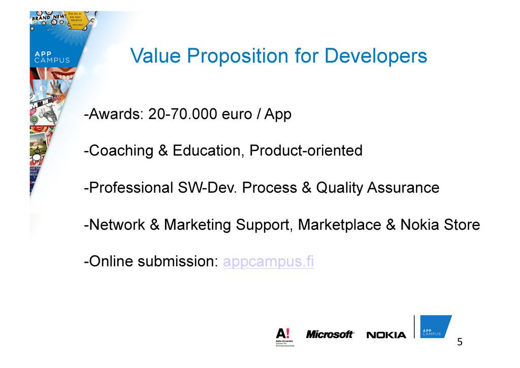5  Value Proposition for Developers -Awards:...