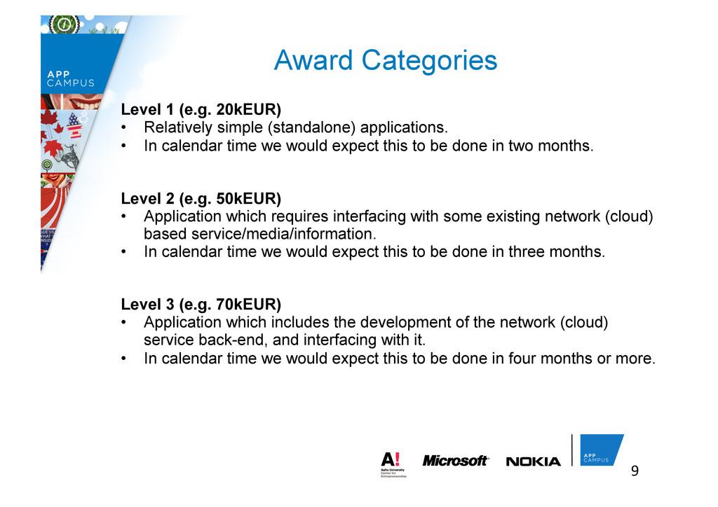 9  Award Categories Level 1 (e.g. 20kEUR) •...