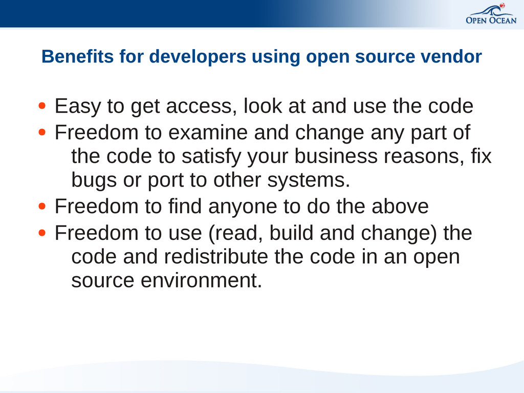 Benefits for developers using open source vendo...