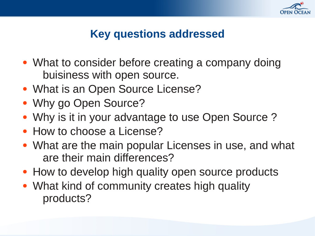 Key questions addressed ● What to consider befo...