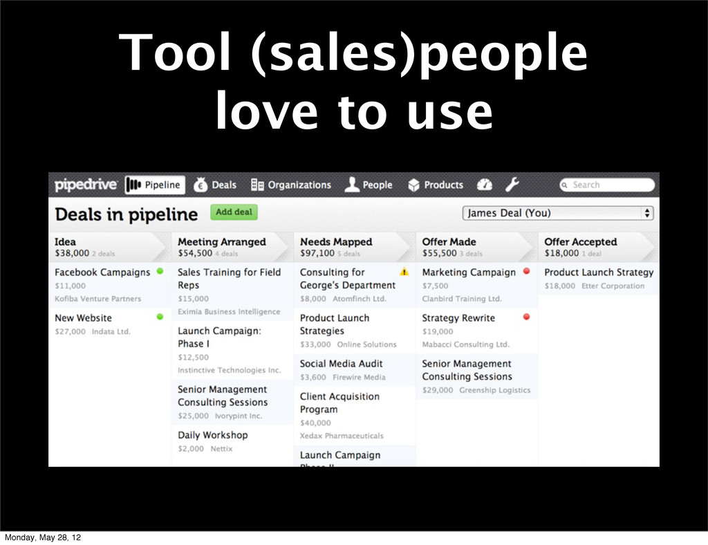 Tool (sales)people love to use Monday, May 28, ...