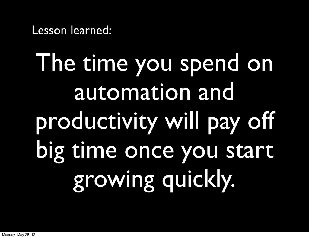The time you spend on automation and productivi...