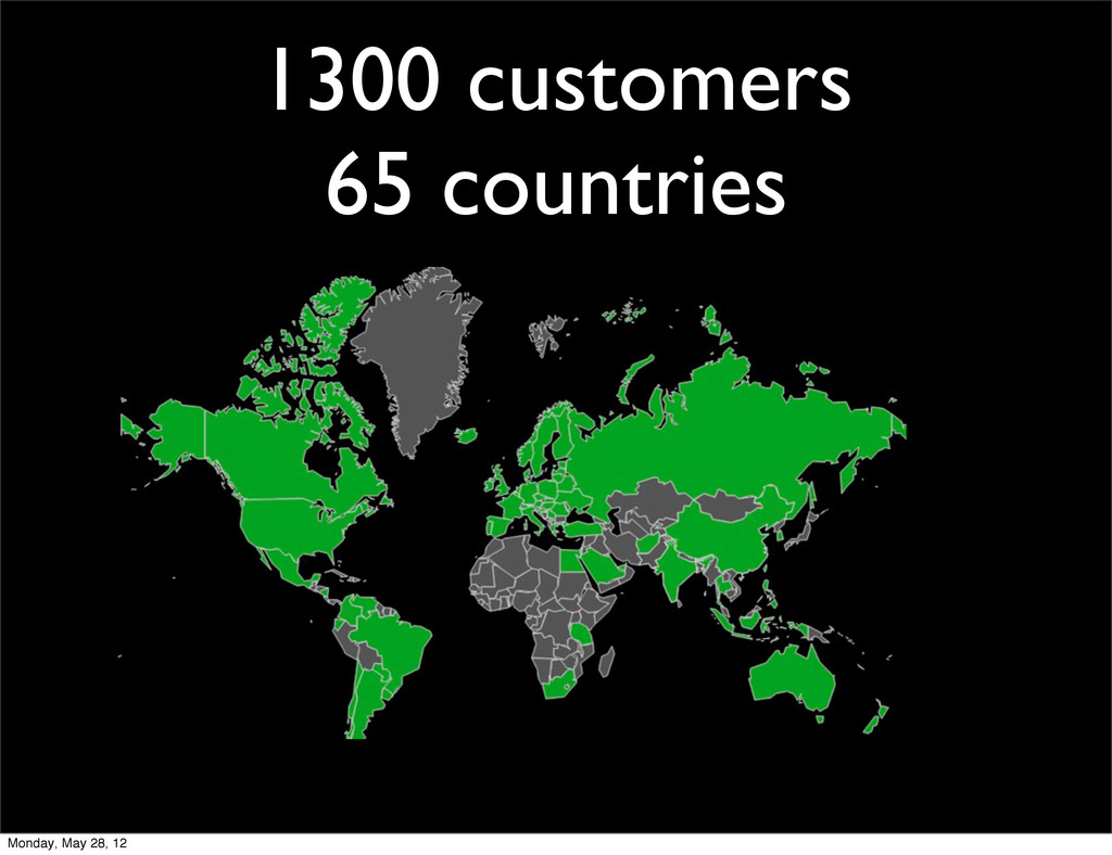 1300 customers 65 countries Monday, May 28, 12