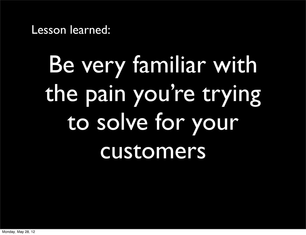 Be very familiar with the pain you're trying to...