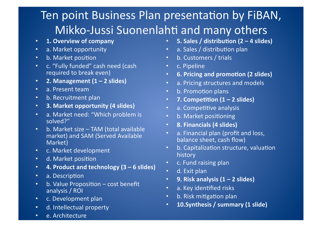 Ten point Business Plan presenta$on...