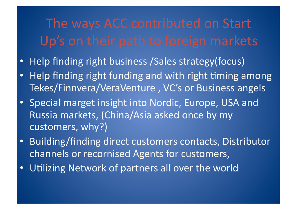 The ways ACC contributed on Star...