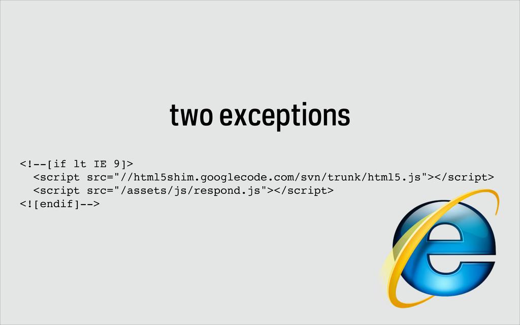"two exceptions <!--[if lt IE 9]> <script src=""/..."