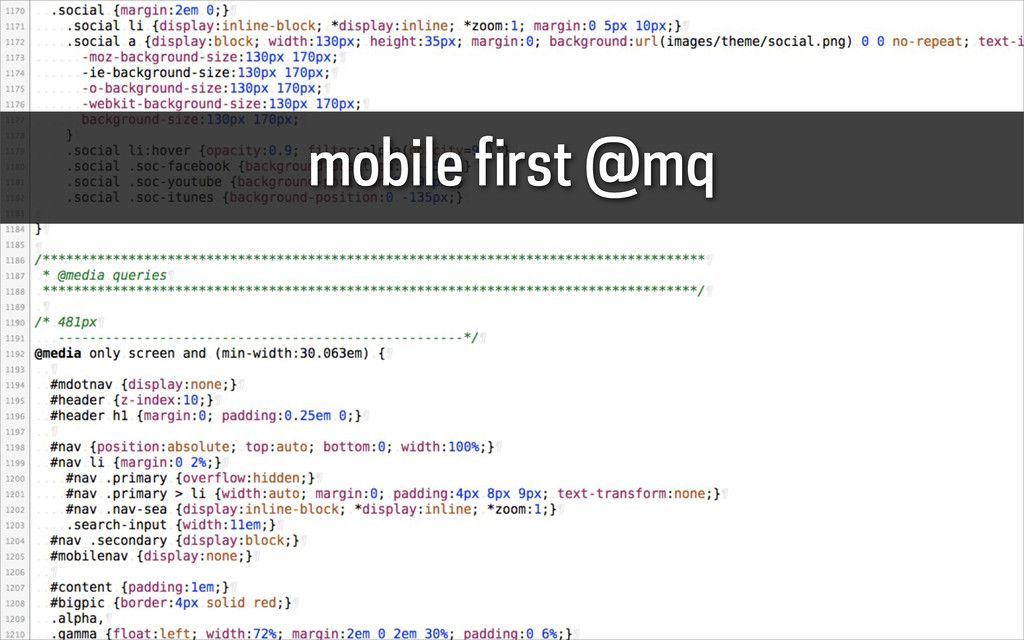 mobile first @mq