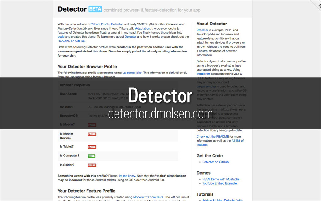 Detector detector.dmolsen.com
