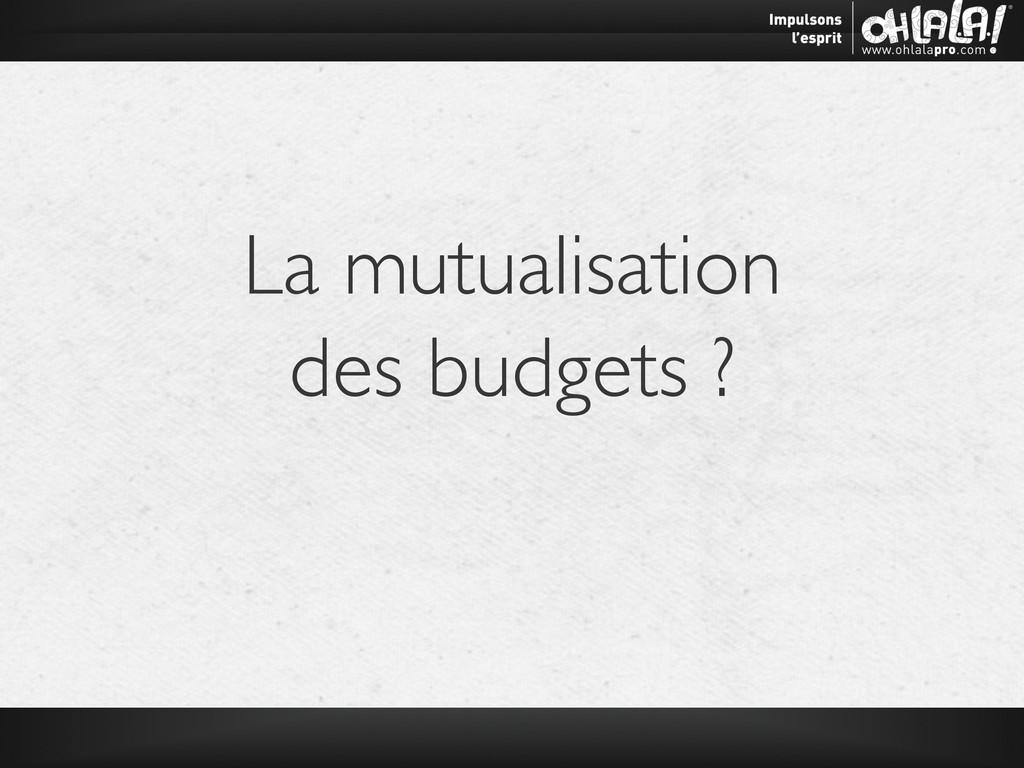 La mutualisation  des budgets ?