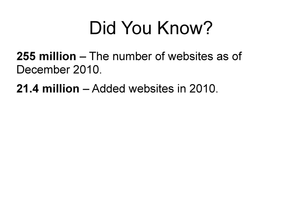 Did You Know? 255 million – The number of websi...
