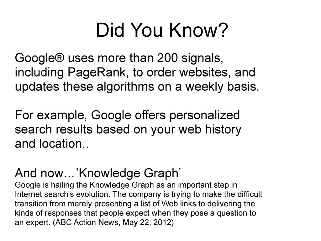 Did You Know? Google® uses more than 200 signal...