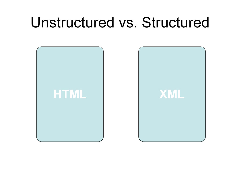 HTML XML Unstructured vs. Structured