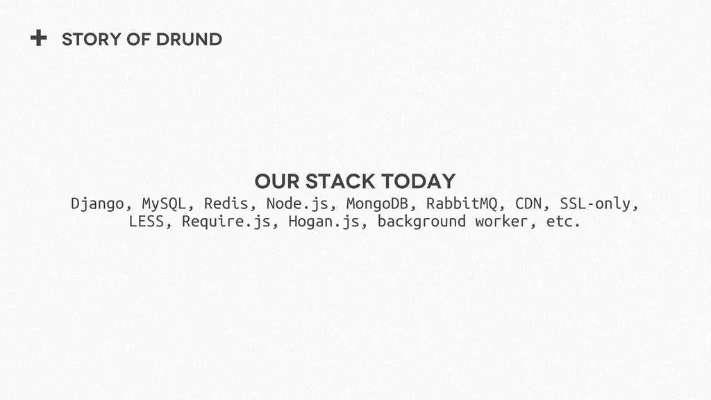 + Story of Drund Our stack Today Django, MySQL,...